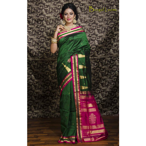 e23a6e04660bd Kanchipuram Silk Saree in Bottle Green and Rani at Rs 8890  piece ...