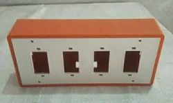 Bharat White and Orange Rectangular 4 Narrow Slots PVC Switch Board, For Electric Fitting, Size: 7x4x2