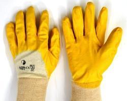 White Fine Hosiery Shell With Three Fourth Yellow Nitrile Dipped Gloves Having Jersey Cuffs