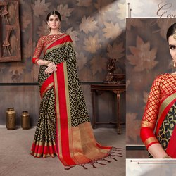 Heavy Work Saree With Tassels