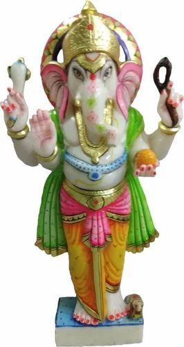 Multicolor Marble Ganesh 1 Feet Statue