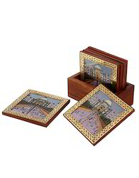 Gemstone Painted Carved Table Tea Coaster Set