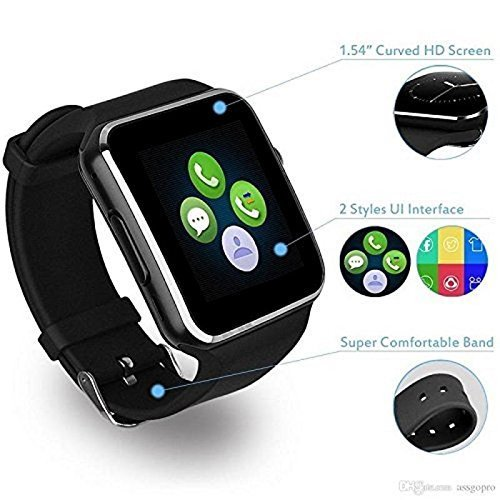 bd3a2b22b5d23e Bluetooth Smartwatch X6 Wrist Watch Phone with Camera Compatible with All  Android and iOS Smartphone
