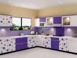 Wooden L Shape, U Shape Modular Kitchen Interior