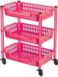 3 Racks Plastic Vegetable Trolley