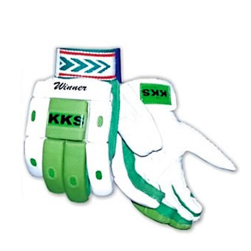 KKS Leather White And Green Cricket Batting Gloves