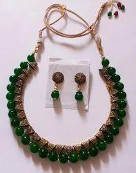 Sreevee handmade  jewellery Green Oxidised Metal Jewellery Set