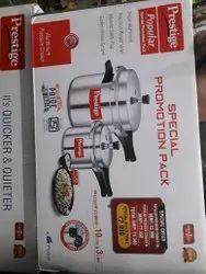 Aluminium Outer Lid Prestige Pressure Cooker, Capacity: 10lit & 3lit, Size: 10 & 3lit