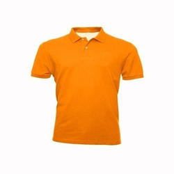 Orange Cotton School Collar T-Shirt