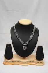 Traditional Jewelry Oxidized Necklace Oxidise Jondhale Pot, Occasion: Party, Size: Medium Long