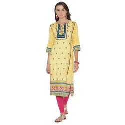Digital Printed Round Neck Crepe Kurti