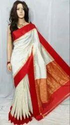 Festive Wear Garad Silk Saree Durga Puja Red White Saree, With blouse piece, 5.5 m (separate blouse piece)