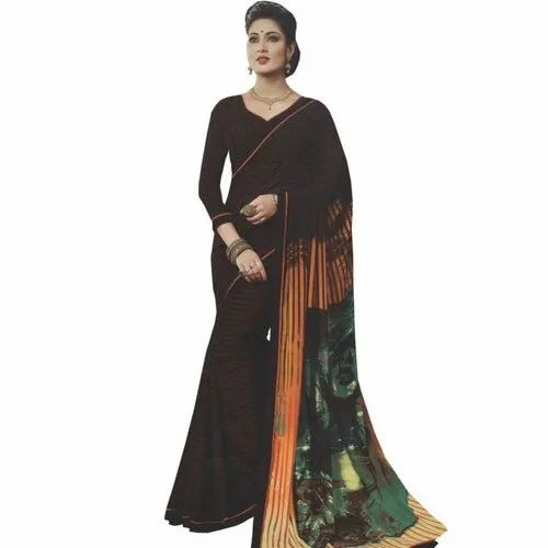 7b408983fe Georgette Casual Wear Black Saree With Digital Printed Border, Length: 5.5  m Separate Blouse