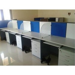 Plywood and Glass Wooden Modular Office Workstation