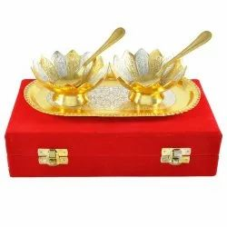 Silver-Gold Plated Bowl Set with Spoon & Tray