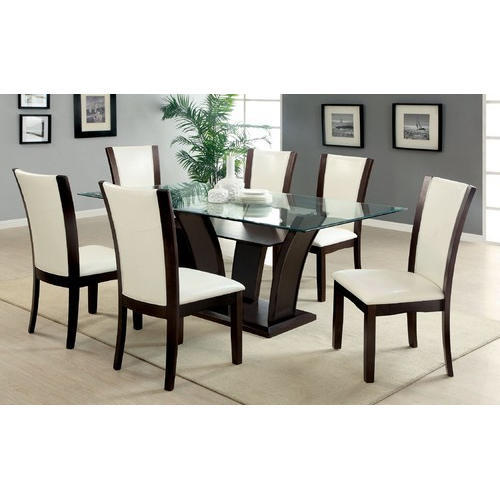 Kitchen Table With 6 Chairs: Brown, White 6 Seater Modern Dining Table, Rs 20000 /set