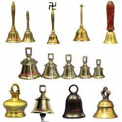 Brass Pooja Temple Church Ship Handle Bells