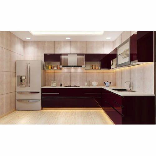 Modern Brown Acrylic Modular Kitchen Cabinet, Rs 270000