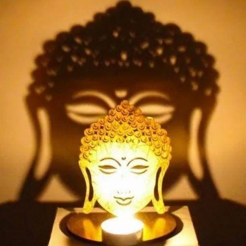 Golden Wooden Buddha Tea Light Candle Holder