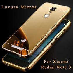 new concept c6f33 86a22 Redmi Note 3 Gold Mirror Back Cover With Bumper Case