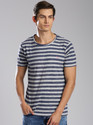 Men Cotton Stripes Round Neck T Shirt, Size: Small, Medium, Large, Xl