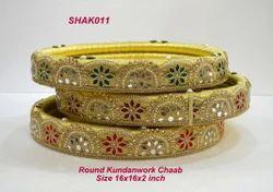 Round Kundan Work Chaab Tray