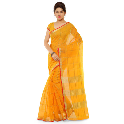 df03b4a998a49 Yellow And Red Party Wear Ladies Cotton Silk Saree