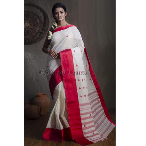 d93425efdf9f36 Premium Quality Handwoven Tussar Saree with Woven Jamdani Silk Border in White  and Red