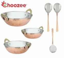 Choozee -Steel Copper Serving Kadhai Set of 3 Pcs Wtih Serving Spoons (400ML, 600ML and 800Ml)
