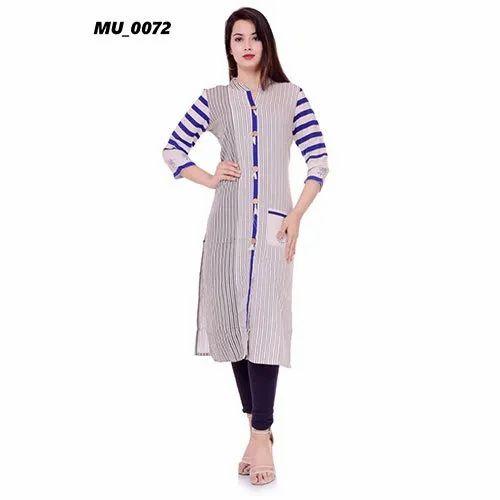 Formal Wear A-Line Cotton Ladies Kurti, Machine wash, Size: S-XXL