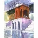 Regular Painting Realistic Mandapam And Steps 12x15 Inch Water Color Painting Service, Area / Size: 12*15