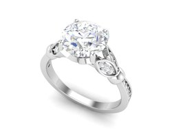8 mm Solitaire Round Cut Natural Wedding Ring