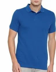 Mens Plain Royal Blue Polo Neck T Shirt