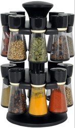 Plastic Revolving 16 Piece Spice Rack, Packaging Type: Box, 150 ml Black