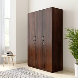 Brown Alpha Engineered Wood 3 Door Wardrobe for Home