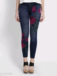 Ladies Printed Denim Jeans