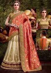 Stunning Cream and Coral Orange Lehenga Saree