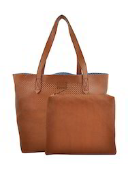 Yelloe Tan Synthetic Leather Tote Bag With Punched Surface A