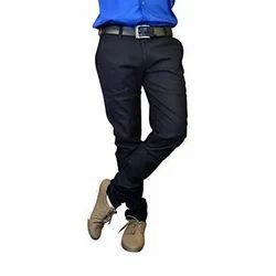 Black Casual Mens Cotton Trouser