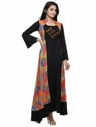 Yash Gallery Women's Rayon Geometric Print  Embroidered  Anarkali Kurta