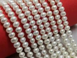 Freshwater Pearl Near Round Shape  White Color  Size Beads 4.5-5.5 Mm Pearl Strand