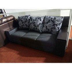 3 Seater Black Cushion Sofa Set