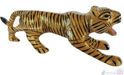 Metal Meenakari Tiger Statue Enamel Work