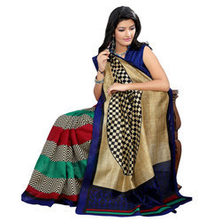 Ladies Party wear Printed Bhagalpuri Silk Saree