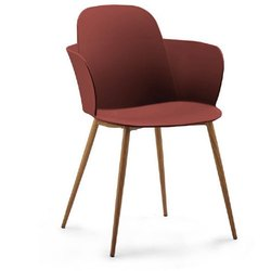 Modern Furniture Leaf Layer Plastic Armchair With Wooden Legs