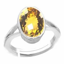 Yellow Topaz Stone Ring Men and Women Silver Gemstone