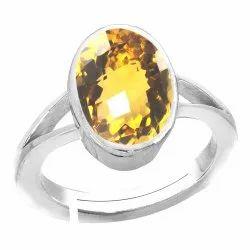 Yellow Topaz Stone Ring Men and Women Silver Gemstone
