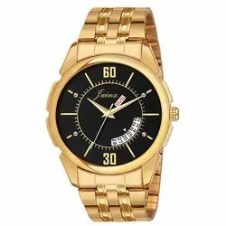 Men Golden Round Dial Day and Date Watches