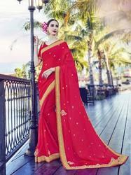 Satin Chiffon Dark Pink Saree
