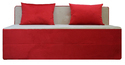 Adorn India Easy 3 Seater Sofa Cumbed (Red & Gold)